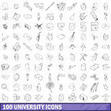 100 university icons set, outline style. 100 university icons set in outline style for any design vector illustration Stock Photo