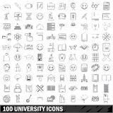 100 university icons set, outline style Stock Photo