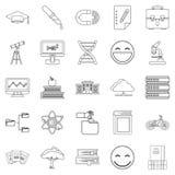 University icons set, outline style Stock Photos