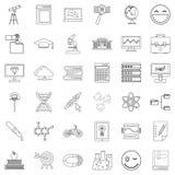 University icons set, outline style Royalty Free Stock Image