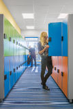University interior with colorful lockers Royalty Free Stock Image