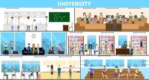 University interior set. Campus and classroom and laboratory Stock Photos