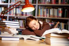 In university library. Portrait of student sleeping in university library royalty free stock photo