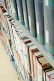 University library. Detail books in bookshelf royalty free stock images