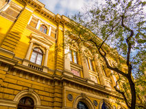 University Library in Budapest, Hungary. View of the yellow building of the University& x27;s library in the center of Budapest stock photo