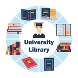 University library flat poster. With graduate in gown in the centre and different books around him vector illustration. Round design template for website app Royalty Free Stock Image