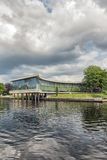 University Library in Halmstad. The university of Halstad's library on the river royalty free stock photo