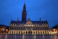 University Library, Leuven, Belgium. Despite its neo-rennaissance aspect, the University library is quite recent: 1921, and it was build by americans as a gift stock images