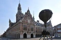 University Library of Leuven. The building of the centrale bibliotheek and sculpture Ballon van de Vriendschap in Leuven - Belgium Stock Photo