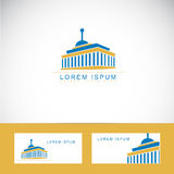 University or library logo. Logo icon vector of a university or library building with business card template stock illustration