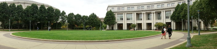 University Library Panorama. Library quad on a university campus, panorama shot Stock Photo