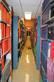 University Library Shelves. Shelving units in the stacks of a university or college library Stock Photo