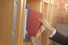 University Library. Student Hand Book Search at University Library stock photography