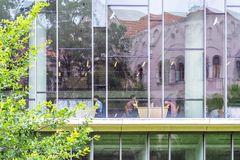 The University library. Szeged, Hungary, June 27: Students study at the University library in Szeged, June 27, 2018 stock photography