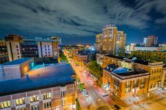 University of Maryland, Baltimore night view in downtown Baltimore, Maryland.  royalty free stock photos
