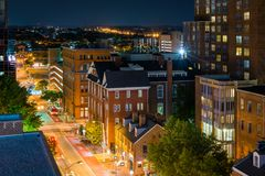 University of Maryland, Baltimore night view in downtown Baltimore, Maryland.  royalty free stock image