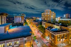 University of Maryland, Baltimore night view in downtown Baltimore, Maryland.  stock images
