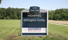 University of Memphis at Millington sign. The campuses  of the University of Memphis and Southwest Tennessee community colleges in Millington, TN Royalty Free Stock Photos