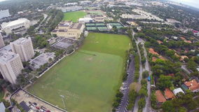 University of Miami. Aerial footage of the University of Miami sports fields stock video