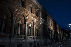 The University of Milan by Night, Milan royalty free stock photos