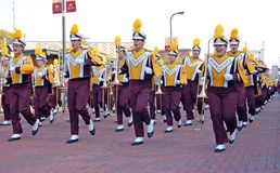 University of Minnesota Marching Band. Minneapolis - September 20:  University of Minnesota Marching Band playing in the Victory Walk on September 20, 2008 in Stock Image