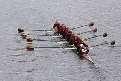 University of  Minnesota Women's Crew races in the Head of Charles Regatta Women's Master Eights Stock Images