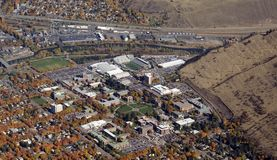 University of Montana. Aerial view of University of Montana in Missoula USA Stock Images