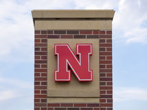University of Nebraska Logo on Brick Royalty Free Stock Photography