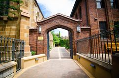 The University of Notre Dame, Sydney campus, image shows the main entrance at Broadway street. royalty free stock photo