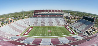 University of Oklahoma. This is a panorama of the university of oklahoma's football Stadium with no one in it.  This is a panorama that was taken on a very nice Stock Image
