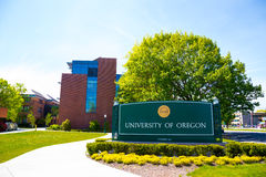 University of Oregon Campus Entrance Sign Stock Photos