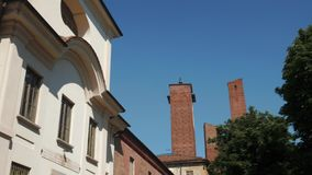 University palace and towers in Pavia, Italy.  stock footage