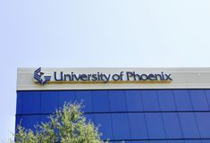 University of Phoenix. Offers campus and online degree programs, certificate courses, and individual online classes Royalty Free Stock Photos