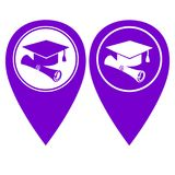University pin pointer in two color version. University pointer in two color version  illustration Royalty Free Stock Photography