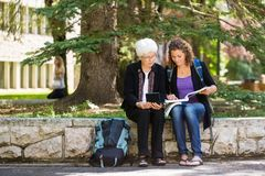 University Professor Assisting Student. Full length of female student studying on campus with professor helping Stock Photo