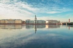 University Quay in Saint Petersburg. 18th century buildings across the Neva river University quay in Saint Petersburg Royalty Free Stock Images