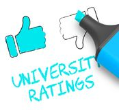 University Ratings Shows Approved Universities 3d Illustration. University Ratings Thumbs Up Shows Approved Universities 3d Illustration Stock Images