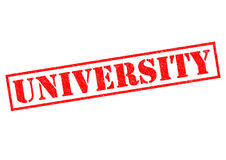 UNIVERSITY. Red Rubber Stamp over a white background Royalty Free Stock Photo