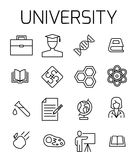 University related vector icon set. Well-crafted sign in thin line style with editable stroke. Vector symbols isolated on a white background. Simple pictograms Stock Images