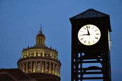 University of Rochester Clock Tower. And Rush Rhees Library Royalty Free Stock Images