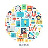 University, school Education flat infographics icons in circle - color concept illustration for education cover, emblem. Template Stock Photos