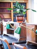 University or school library interior. Desks with green lamps, bookshelfs royalty free stock photo