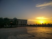 The University of Sharjah magical cloudy sunset, UAE stock image