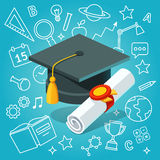 University student cap mortar board and diploma Stock Photo