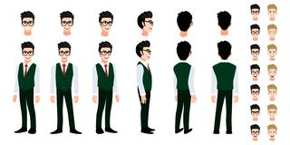 Free University Student Cartoon Character Head Set And Animation. Front, Side, Back, 3-4 View Character. Flat Icon Design Vector Stock Photo - 162849720