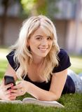 University Student with Cell Phone Stock Images