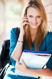 University student on cellphone Stock Images