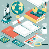 University student desktop. University student and researcher desktop with books, tablet, smartphone, microscope and other supplies; learning and education Stock Photography