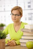 University student girl at desk Stock Images