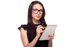 University student in glasses with notepad Royalty Free Stock Images